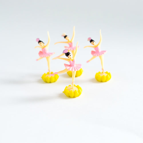 Pink Ballerina cake toppers with stand (4 pack) - Sweet Layer Cake
