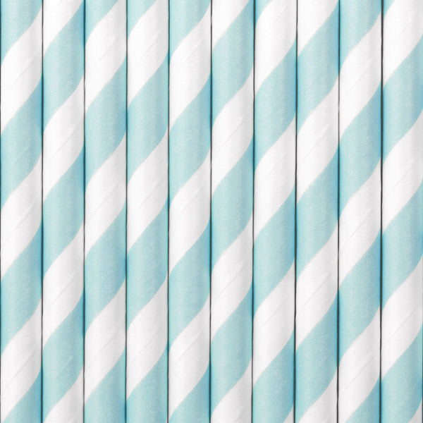 Blue + White Stripes Paper Straws