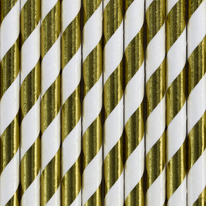 White + Gold Paper Straws