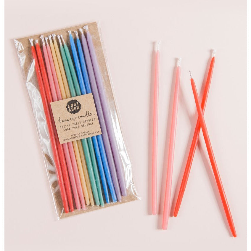 Tall Rainbow Beeswax Party Candles - Sweet Layer Cake