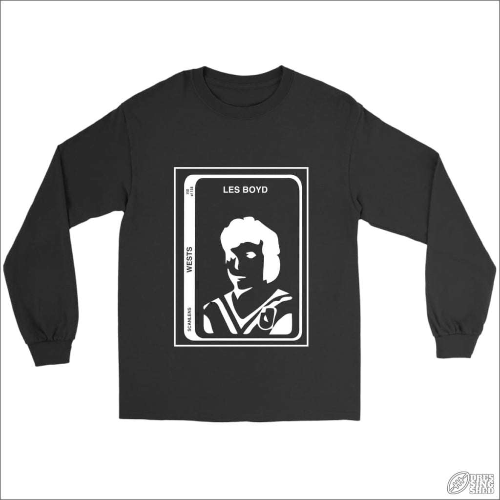 Rugby League Long sleeve T-shirt Wests Footy Card Gildan Long Sleeve Tee / Black / S Longsleeve