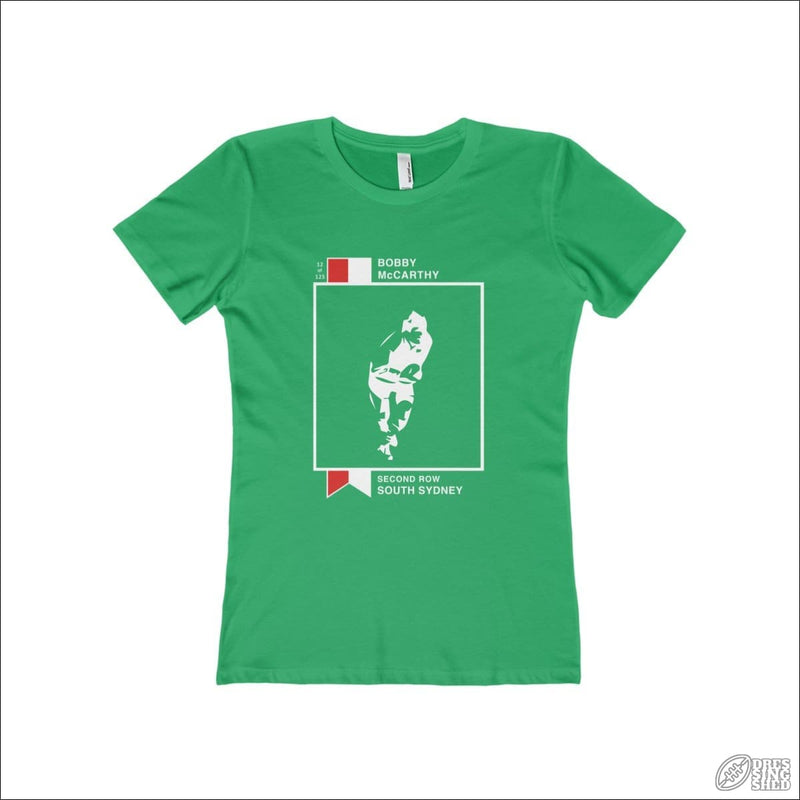 Rugby League T-shirt Ladies Souths Footy Card Solid Kelly Green / S T-shirt - Womens