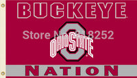 NCAA Ohio State Flag 3x5 FT 150X90CM Banner 100D Polyester flag 1029, free shipping