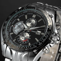 2017 New Curren fashion auto Date full steel Watch Military Man Business Casual quartz Wristwatch Brand Relojes Hombre Male