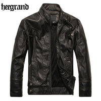 HEE GRAND 2017 Europe Large Size Leather Jacket Men High Quality Male Fashion Motorcycle Biker Male Coat MWP398