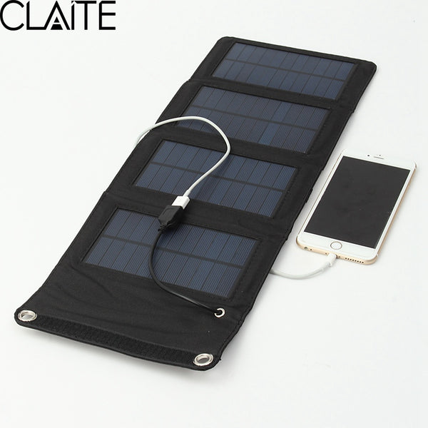 7W Solar Charger Solar Panel Camping Travel Portable Tablet Kits USB Battery Charging Kits