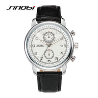 Top brand Classic Retro Fashion Business Quartz Watch Men leather Strap Japan Casual Watch Chronograph Auto Date 2017 Sinobi New