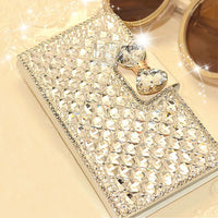 Bling Rhinestone diamond crystal PU leather wallet style stand cover luxury phone case for samsung galaxy note 2 N7100 PT2174