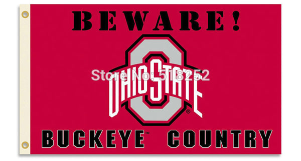 Ohio State Beware Buckeyes Country Flag  3x5 FT 150X90CM NCAA Banner 100D Polyester Custom flag grommets 6038,free shipping