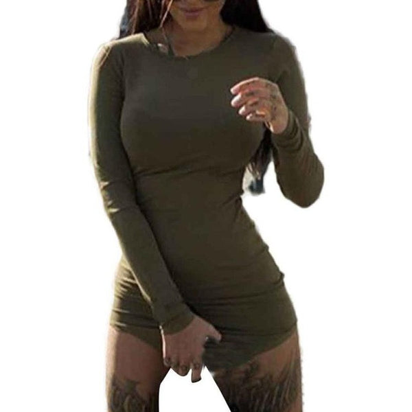 Sexy Womens Ladies Dress Bodycon Long Sleeve Solid Plus Size 4 Colors Tight package hip Mini Dress #LSW