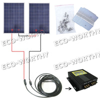 200W 2*100Watt Solar Panel Kit W/ MPPT Controller for 24V RV Boat Caravan System Solar Generators
