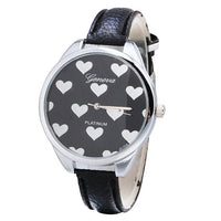 Genvivia Fashion Women Watches Leather Band Heart-shaped Alloy Dial Quartz Wrist Watch Bracelet Women Watches With Gift Box