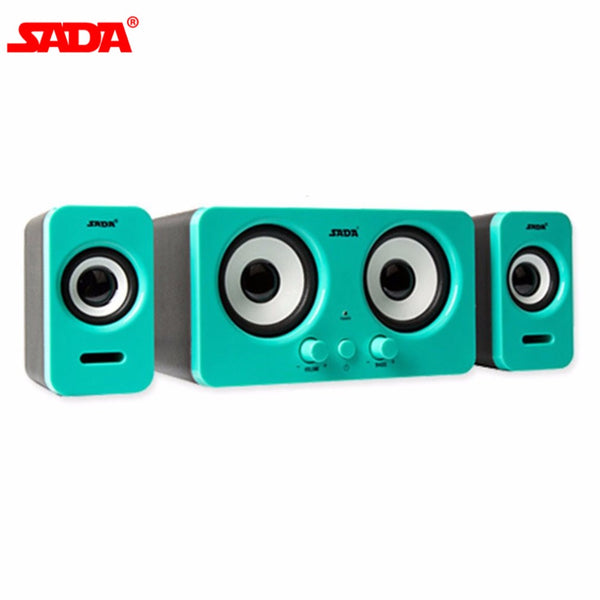 SADA Stereo Combination Speaker Wired Subwoofer For Laptop Desktop Computer Portable USB Speaker Loudspeaker Volume Control
