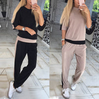 2017 Fashion Summer Women Half Sleeve Top And Pants Suit Tracksuit Two Piece Set Sweatshirt Casual Runway Activewear Femininas