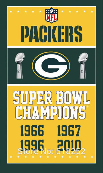 Green bay packers Super Bowl Champions Flag 3x5 FT 150X90CM NFL Banner