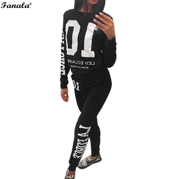 FANALA 2017 Tracksuit Women Autumn Winter Casual 2 Pieces Suit Set Letter Print Hooded Sweatshirt and Long Pants Leisure Suits