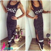 Women Sexy Slim Summer New Letter Print Long Sleeveless Vest Dress S3149