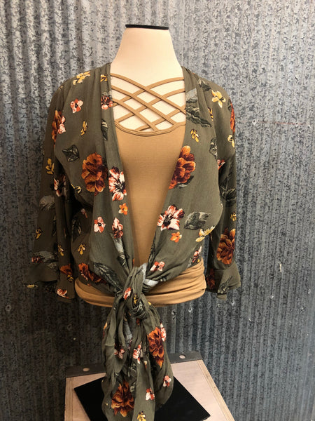 olive floral tie blouse