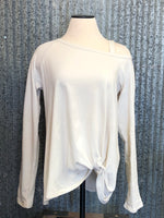 one shoulder front knotted top