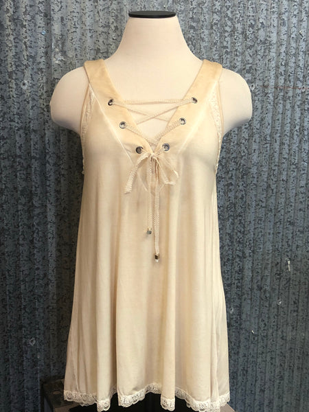 honey gold lace inset tank