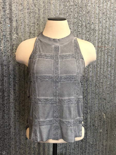 grey caged back tank