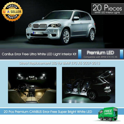 White LED Interior Premium Light Package for BMW X5 M E70 2007 - 2013 Canbus 20x
