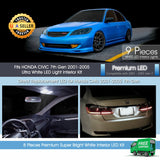 White Interior LED Lights Package For Honda Civic 2001 - 2005 Sedan Coupe