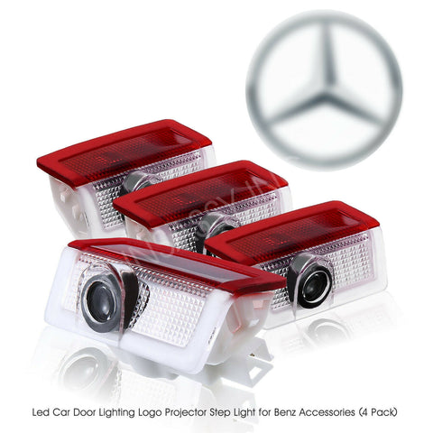 4x LED Door Light Logo for Mercedes Benz Projector Courtesy Welcome Step Lamp
