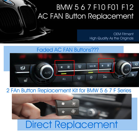 2 AC Fan Button Key Caps fits BMW F10 F11 Heater Climate Control Switch Cap Replacement