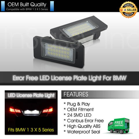 2X 24 LED License Plate Light for BMW 1 3 4 X 5 M3 M5 E39 E60 E70 E82 E90 E92 F30