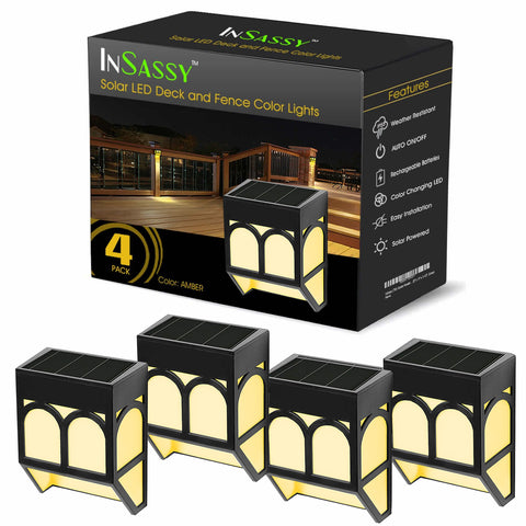 Solar LED Outdoor Lights - Amber Waterproof Security Lighting for Deck, Fence, Patio, and More