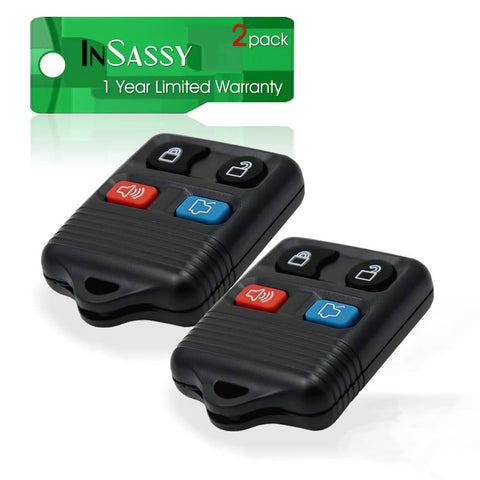 2 Replacement Keyless Remote Key Fob for Ford, Lincoln & Mercury - Four Button Clicker Transmitter