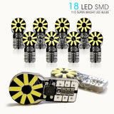 InSassy 194 T10 LED Bulb Error Free 168 175 2825 18-SMD 4014 Chipset Super Bright 6000K White Car Interior Door Dome Map Backup Reverse Courtesy Trunk License Plate Sidemarker Parking Glove Box Light