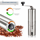 InSassy Manual Coffee Grinder, Strongest Heavy Duty Portable Conical Burr Mill, Whole Bean Manual Grinder for French Press, Turkish, Handheld Mini, K Cup in Brushed Stainless Steel