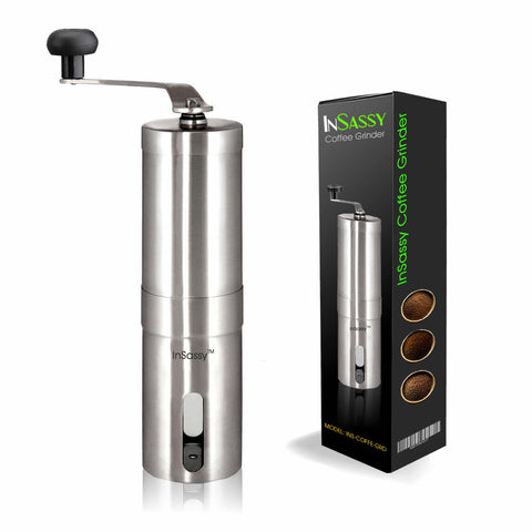 InSassy Manual Coffee Grinder, Strongest Heavy Duty Portable Burr Mill in Brushed Stainless Steel