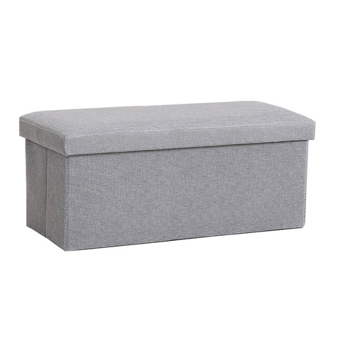 Folding Storage Ottoman Bench Foot Rest Toy Box Hope Chest Linen-like Fabric - Medium