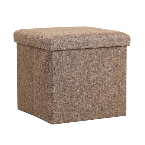 InSassy Folding Storage Ottoman Bench Foot Rest Toy Box Hope Chest Linen-like Fabric - Small