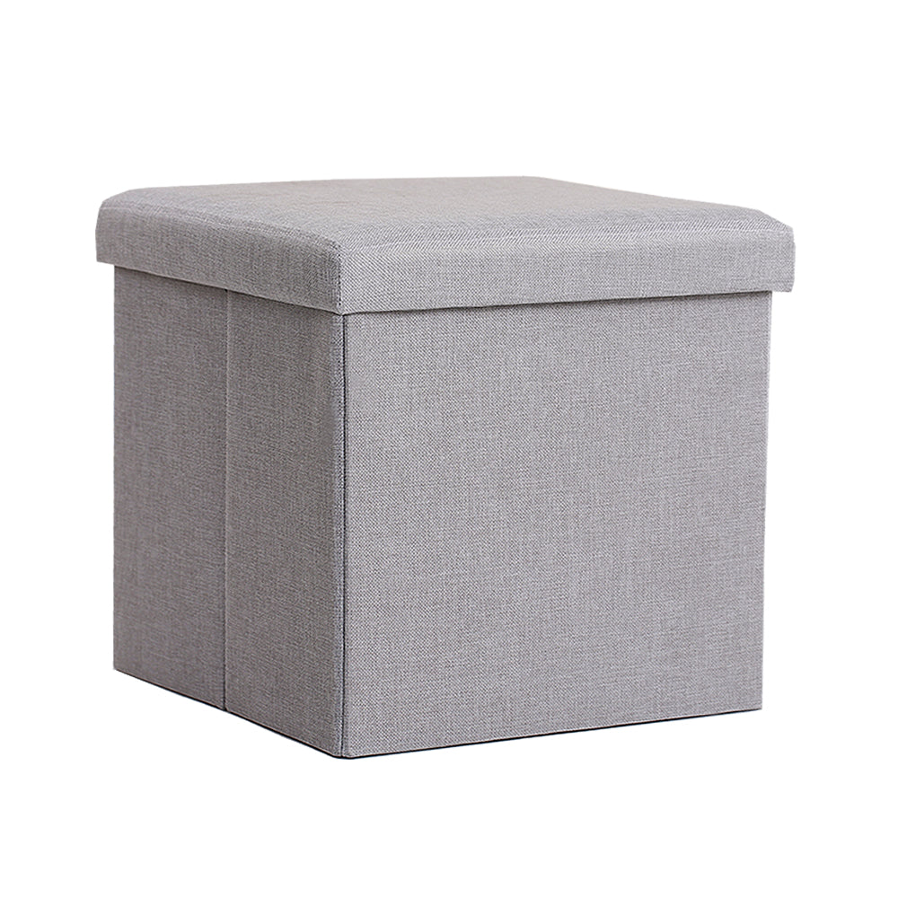 InSassy Folding Storage Ottoman Bench Foot Rest Toy Box Hope Chest  Linen Like Fabric