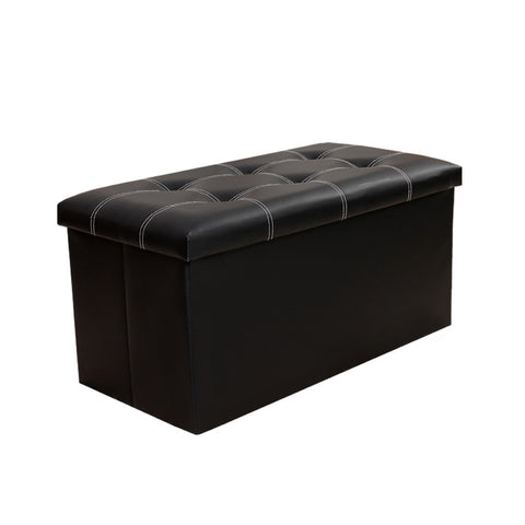 InSassy Folding Storage Ottoman Bench Foot Rest Toy Box Hope Chest Faux Leather - Medium