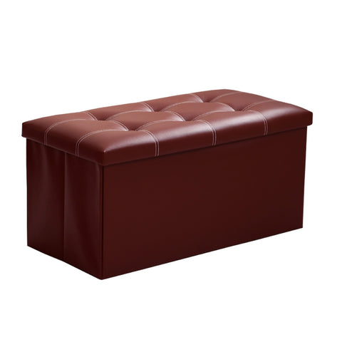 InSassy Folding Storage Ottoman Bench Foot Rest Toy Box Hope Chest Faux  Leather   Medium