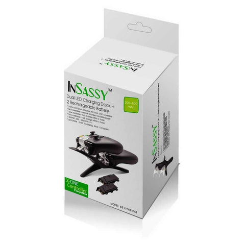 InSassy (TM) Dual LED Charging Dock + 2 Rechargeable Battery