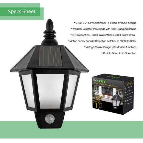InSassy Solar Wall Sconce Outdoor Security Lights With Motion Sensor   LED  Wall Lantern   Warm
