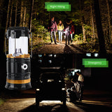 Solar LED Camping Lantern Flashlight with Handle by InSassy - Collapsible Lamp - Version 1