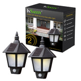 InSassy Solar Wall Sconce Outdoor Security Lights with Motion Sensor - LED Wall Lantern - Warm White