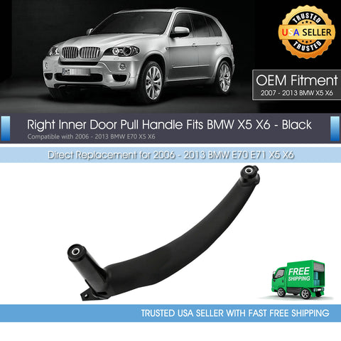 For BMW E70 X5 Right Inner Door Panel Pull Handle Trim Cover Black 51416969401