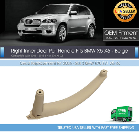 Door Pull Handle Inner Right Panel For BMW E70 E71 E72 X5 X6 51416969404 Beige