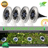 8 LED Solar Ground Lights Disk for Outdoor Garden Deck Path Yard Pool Waterproof