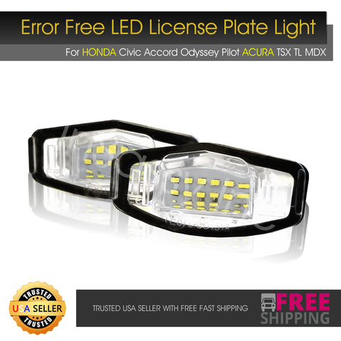 2x License Plate Light fit Acura TL RL TSX MDX Honda Accord Civic Pilot 18 LED