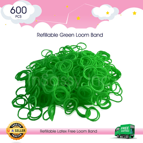 600 Refillable Green Rubber Loom Band For Kids Child Handmade Toy DIY