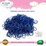 600 Refillable Navy Blue Rubber Loom Band For Kids Child Handmade Toy DIY